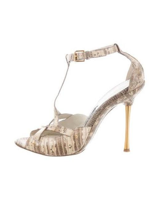583e8a0f545b Tom Ford - Metallic Lizard Ankle-strap Sandals Multicolor - Lyst ...