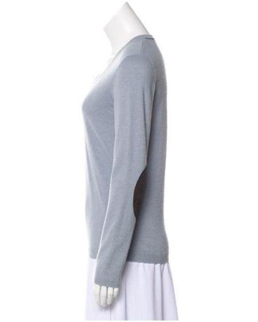 de8df43c3e ... Brunello Cucinelli - Blue Cashmere V-neck Sweater - Lyst ...