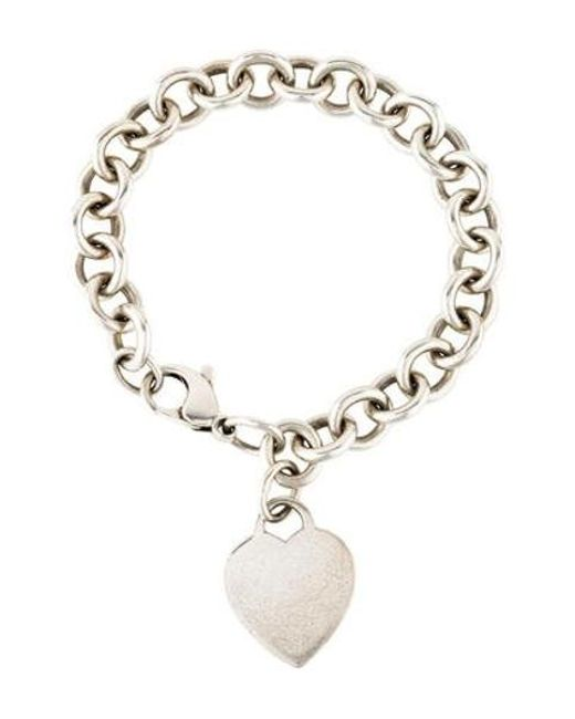 Tiffany Co Metallic Heart Tag Charm Bracelet Silver