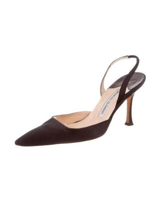 20c093d3a32f ... Manolo Blahnik - Black Satin Pointed-toe Pumps - Lyst ...