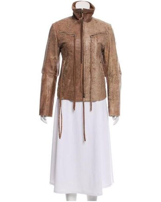 Ann Demeulemeester - Brown Distressed Leather Jacket - Lyst