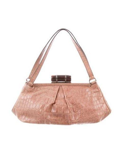 61480181f7fc Miu Miu - Natural Miu Embossed Leather Shoulder Bag Beige - Lyst ...