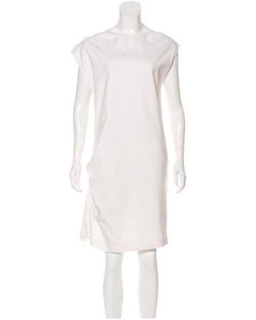 f6081524f7469 Brunello Cucinelli - White Bateau Neck Ruched Dress - Lyst ...
