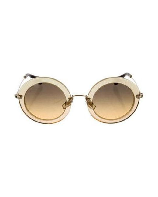 87358681848f Miu Miu - Brown Miu Tinted Round Sunglasses W  Tags - Lyst ...