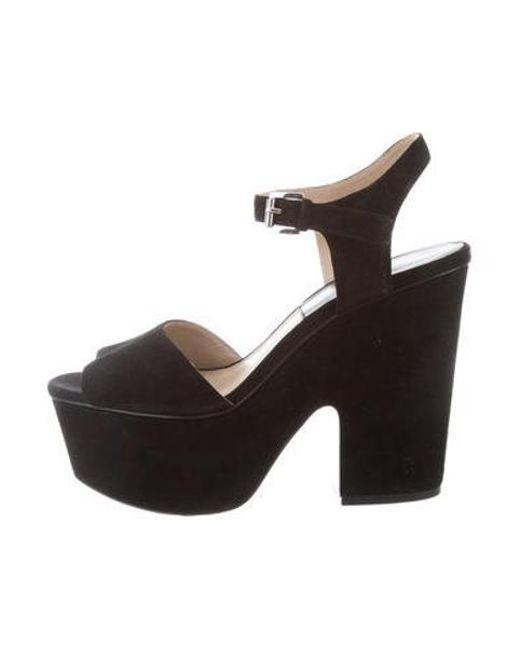 56413e59e86 Michael Kors - Black Suede Platform Sandals - Lyst ...