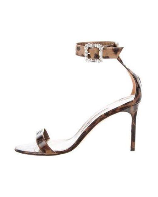 e1fd92426475 Manolo Blahnik - Brown Patent Leather Ankle-strap Sandals - Lyst ...