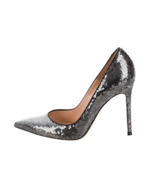 bb1858a26869 Gianvito Rossi - Gray Sequin Pointed-toe Pumps Grey - Lyst ...