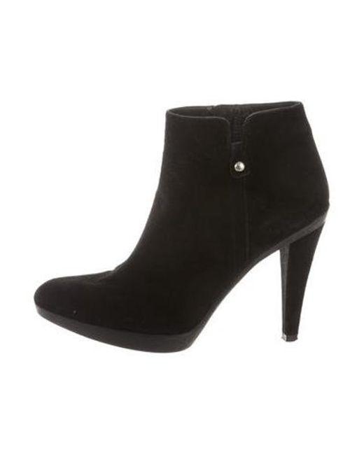 Stuart Weitzman - Black Suede Platform Ankle Boots - Lyst