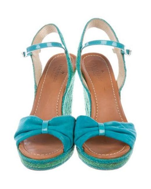 59db9a61a293 ... Kate Spade - Blue Suede Wedge Sandals - Lyst ...