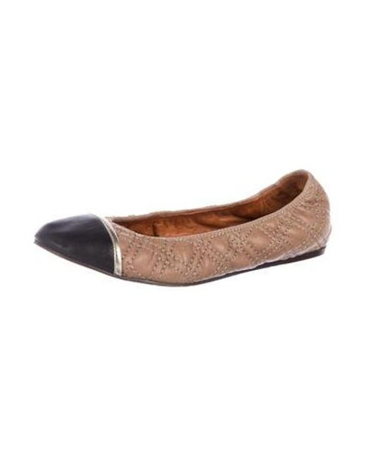 731c7e01559 ... Lanvin - Metallic Quilted Cap-toe Flats Black - Lyst ...