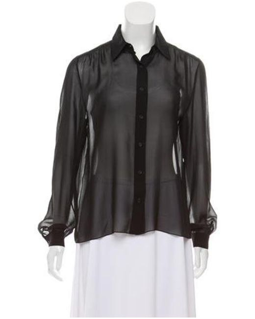 Lyst The Row Sheer Button Up Top In Black