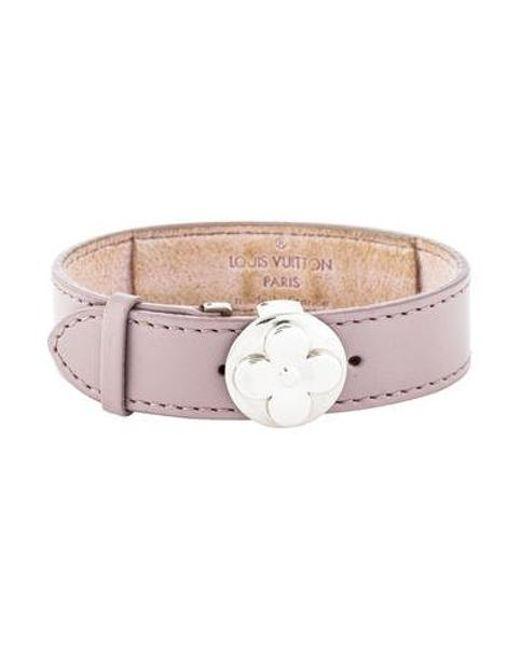 Lyst Louis Vuitton Leather Flower Wish Wrap Bracelet Silver In