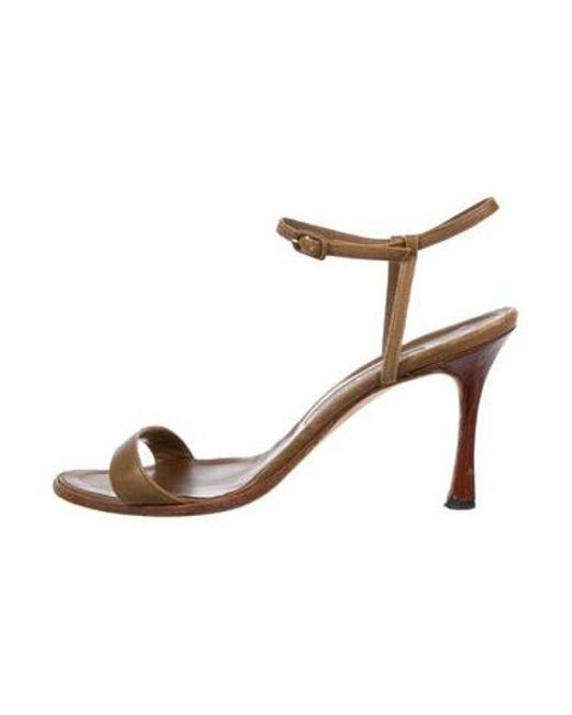9a9992ff822d Manolo Blahnik - Brown Leather Ankle-strap Sandals - Lyst ...