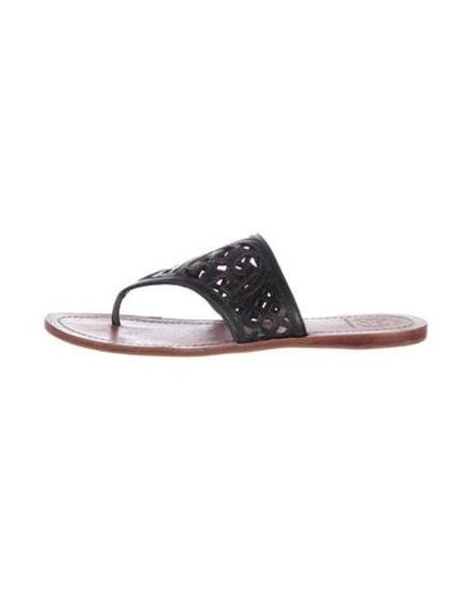 eea5f96f18146d Tory Burch - Black Leather Thong Sandals - Lyst ...