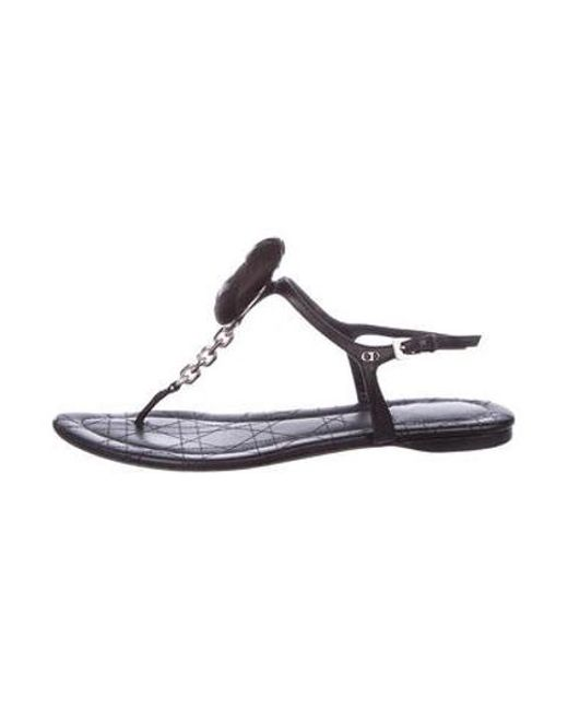 38b0b293aa3634 Dior - Metallic Leather Cannage Sandals Black - Lyst ...