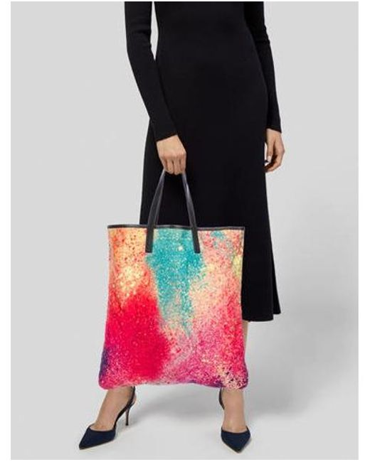 ... Pleats Please Issey Miyake - Pink Leather-trimmed Tote - Lyst ... 7f1055d844