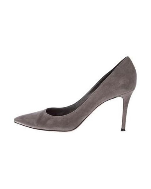 169e05264212 Gianvito Rossi - Gray Suede Pointed-toe Pumps - Lyst ...