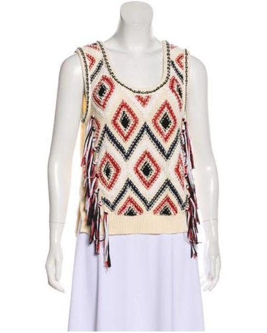 7e85f59a38173 10 Crosby Derek Lam - Natural Knit Sweater Vest Cream - Lyst ...
