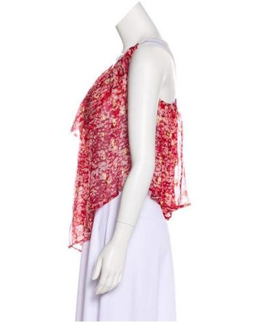 e7dfff5d57903 ... Isabel Marant - Metallic Étoile Sleeveless Silk Top Red - Lyst ...
