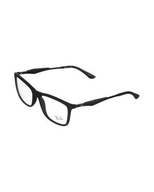 2276d746e6 ... Ray-Ban - Black Square Logo Eyeglasses for Men - Lyst ...