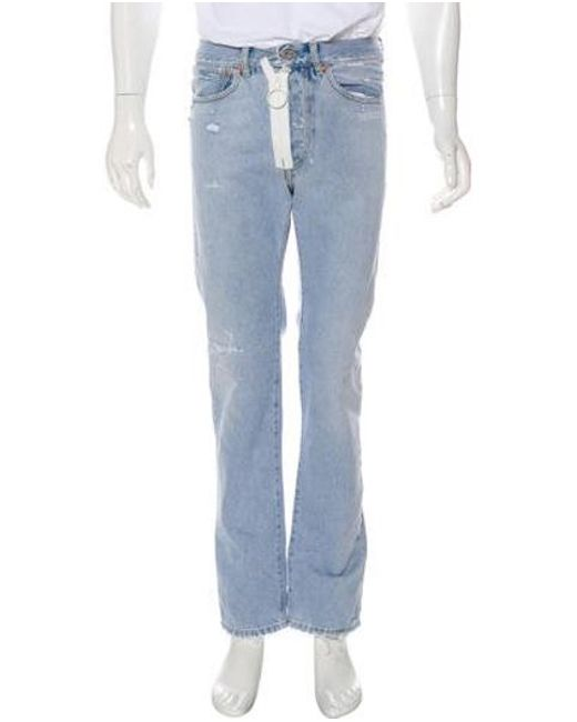 7126ee98bb49 Lyst - Off-White C O Virgil Abloh Distressed Slim-fit Jeans in Blue ...