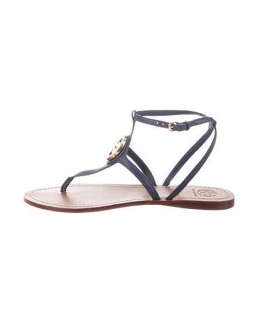 76528b51f Tory Burch - Metallic Leather Ankle Strap Sandals Blue - Lyst ...