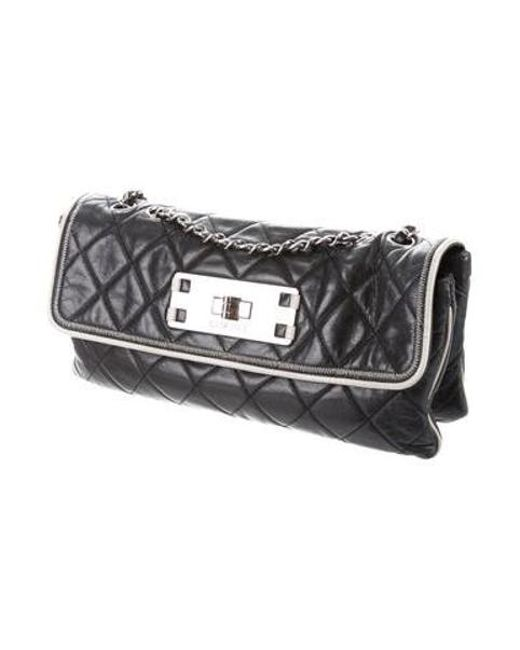 5ca0eb4d17b7 Chanel - Metallic E w Accordion Flap Bag Black - Lyst ...