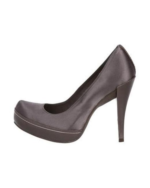 eb4ad6bb3acd Pedro Garcia - Gray Satin Round-toe Pumps Grey - Lyst ...