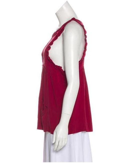 bc1193f713469 ... Isabel Marant - Red Sleeveless Silk Top Burgundy - Lyst ...