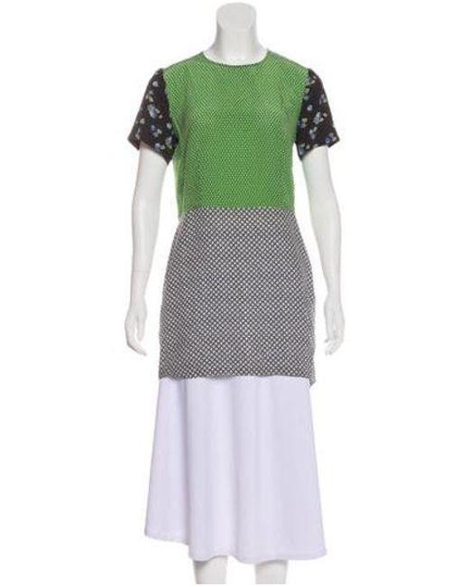 3aa6c705a02d7 Stella McCartney - Green Silk Short Sleeve Top - Lyst ...