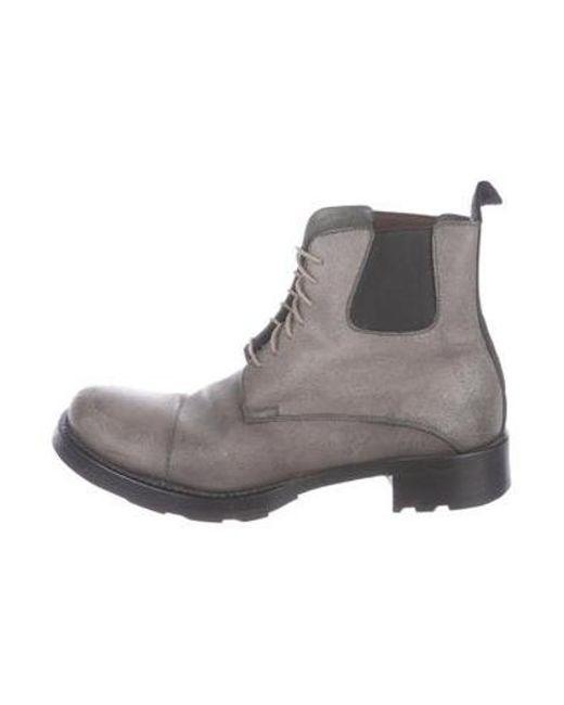 ec3c099f5bc29 Miu Miu - Gray Miu Leather Combat Ankle Boots Grey - Lyst ...