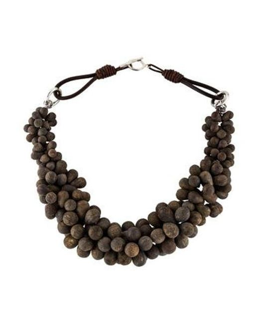 Brunello Cucinelli - Metallic Bronzite Bead Collar Necklace Silver - Lyst