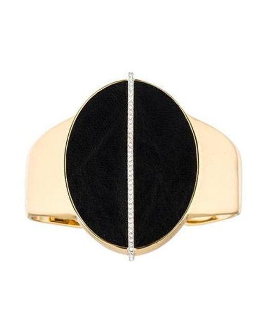 Rachel Zoe - Metallic Leather Oval & Rhinestone Cuff Gold - Lyst
