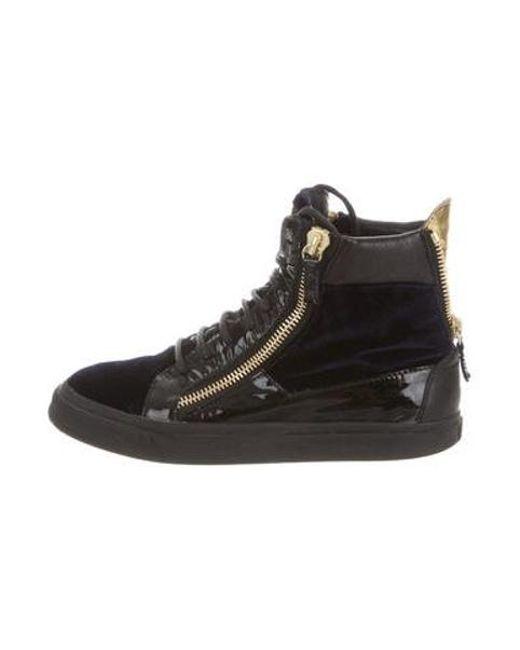 021b72569d68 Giuseppe Zanotti - Blue Velvet High-top Sneakers Navy - Lyst ...