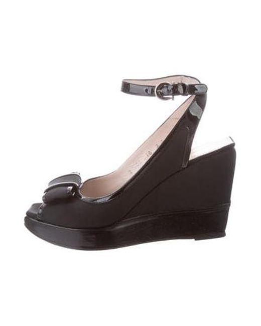 d71f8c7b98 Ferragamo - Metallic Manila Peep-toe Wedges Black - Lyst ...