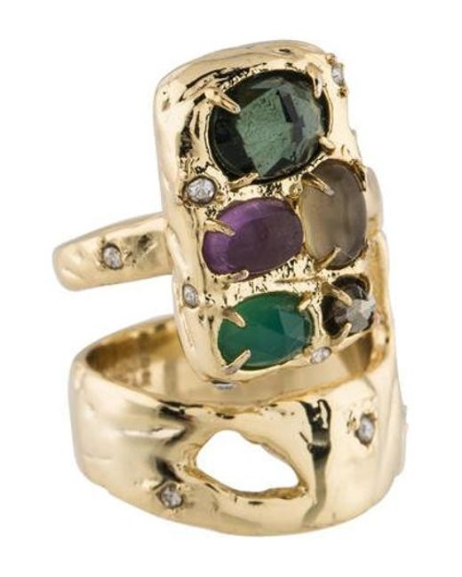Alexis Bittar - Metallic Slab Double Banded Cocktail Ring Gold - Lyst