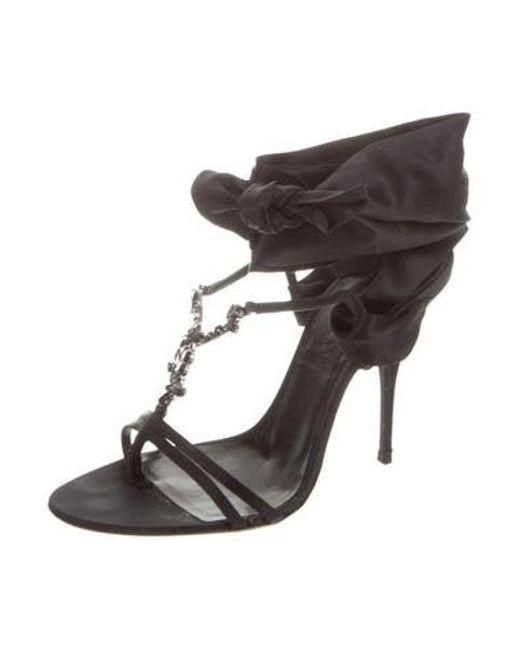 6b06fdb6c17 ... Givenchy - Black Satin Embellished Sandals - Lyst ...