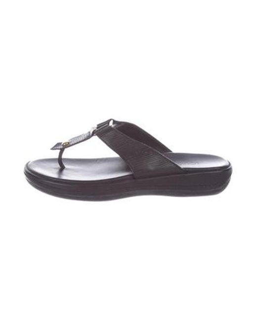 ee3b0e82f7b5 Louis Vuitton - Metallic Leather Thong Sandals Black - Lyst ...