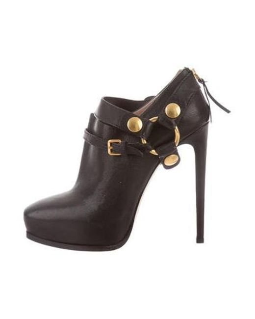 23d43f39ce0 Miu Miu - Black Miu Leather Square-toe Booties - Lyst ...