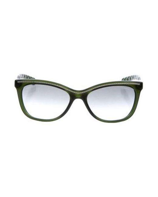 Lyst - Chanel L Embellished Cat-eye Sunglasses Green in Metallic