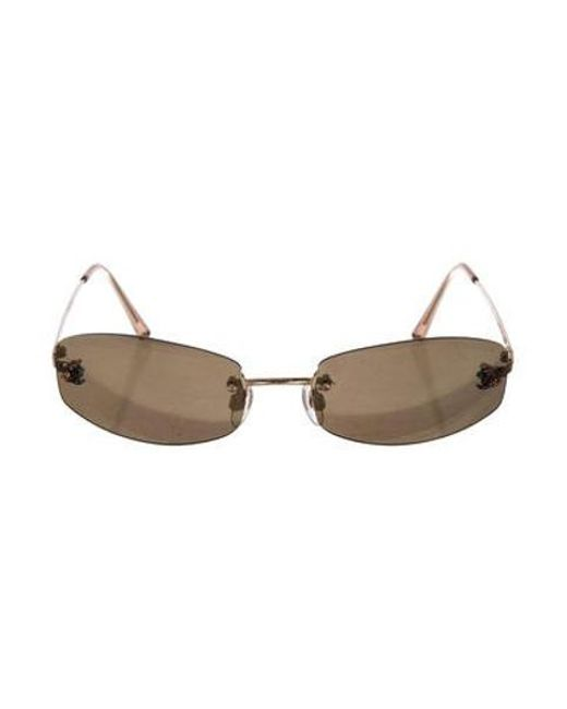 f954b80a4d6 Chanel - Metallic Rimless Cc Sunglasses Gold - Lyst ...