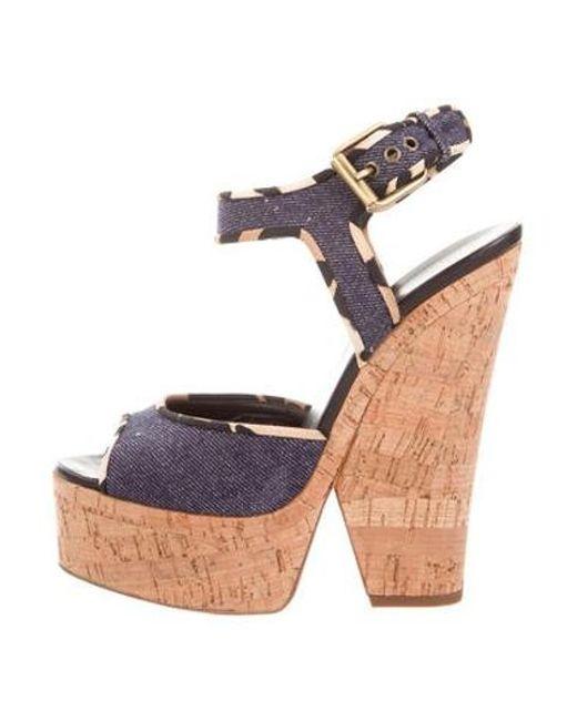 b9551fd0a57 Giuseppe Zanotti - Blue Denim Platform Sandals - Lyst ...