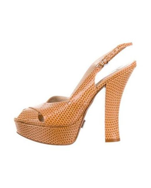5859fb15afc7 Michael Kors - Brown Embossed Platform Sandals - Lyst ...