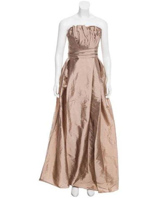 Monique Lhuillier Bridesmaids - Natural Taffeta Trumpet Gown W/ Tags Tan - Lyst