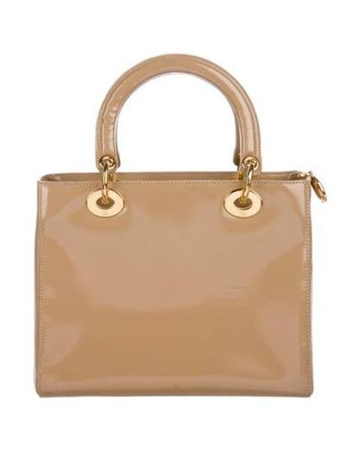 6f5446bebf1c ... Dior - Metallic Vintage Medium Lady Handle Bag Tan - Lyst