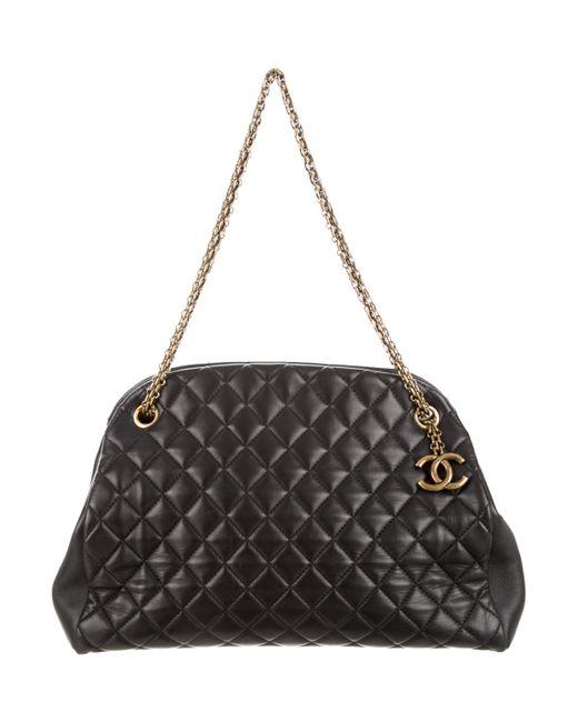 9b53e75fd524 Chanel - Metallic Just Mademoiselle Large Bowler Bag Black - Lyst ...