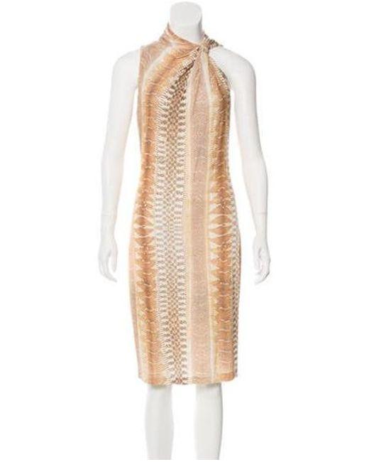cee893dd651 Roberto Cavalli - Natural Animal Print Midi Dress Tan - Lyst ...