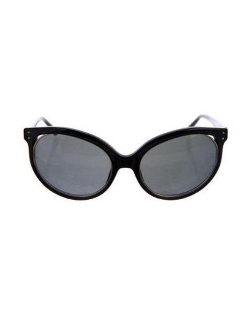 6afcd6e1f8 Linda Farrow - Metallic Oversize Cat-eye Sunglasses Black - Lyst ...