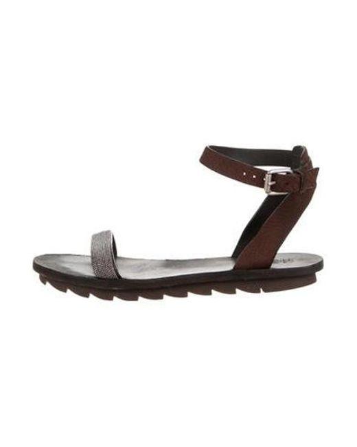 eae48fc7e95 Brunello Cucinelli - Metallic Monili Ankle Strap Sandals Brown - Lyst ...