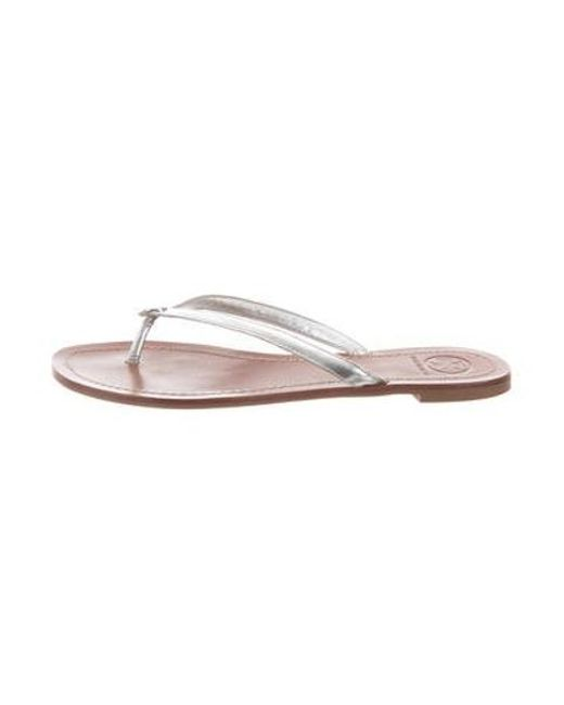 5a9a0d5bc7109d Tory Burch - Metallic Leather Slide Sandals Silver - Lyst ...